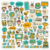 Language school Kids, chidlren, boys and girls. Happy students learning english, spanish, german, italian, arabic. Languages College, university, kindergarten Stock Image