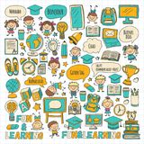 Language school Kids, chidlren, boys and girls. Happy students learning english, spanish, german, italian, arabic. Languages College, university, kindergarten Stock Photography