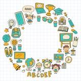 Language school Kids, chidlren, boys and girls. Happy students learning english, spanish, german, italian, arabic. Languages College, university, kindergarten vector illustration