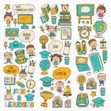 Language school Kids, chidlren, boys and girls. Happy students learning english, spanish, german, italian, arabic. Languages College, university, kindergarten Royalty Free Stock Photos