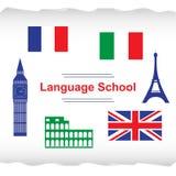 Language school poster, banner stock illustration
