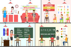 Language school set. Language school interior set. Adults and children learn new languages Royalty Free Stock Photography