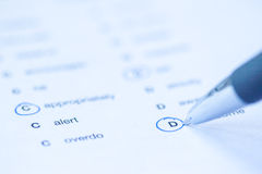 Language test paper. With circled answers as background Royalty Free Stock Photography