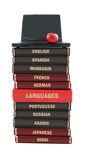 Language text books and laptop Royalty Free Stock Photos