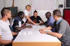 Language training for refugees in a German camp Royalty Free Stock Images