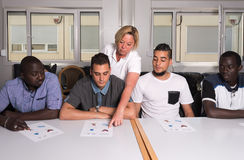 Language training for refugees in a German camp stock images