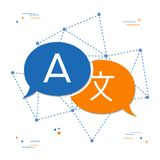 Language translation chat bubble concept. Language translation icon in chat bubble shape. International communication conversation concept illustration. EPS10 Stock Photo