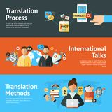Language Translator Banner Set. Language translator horizontal banner set with translation methods and process elements isolated vector illustration Royalty Free Stock Images