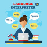 Language Translator Illustration. Language translator concept with woman sitting on table with laptop and world map on background flat vector illustration Royalty Free Stock Image
