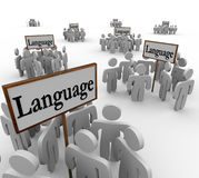 Language Word Signs Different Diverse Communities. Language word on signs with people gathered around them to illustrate many different and diverse groups of Stock Photography