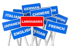 Languages banner signs Stock Photos