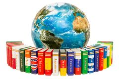 Languages Books with Earth Globe, 3D rendering. Isolated on white background Stock Image