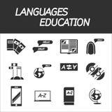 Languages education icon set. Vector illustration, EPS 10 Stock Photography