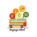 Languages school icon. Speech bubbles with letters of foreign alphabet. Foreign languages learning sign. Vector illustration of languages school icon. Speech royalty free illustration