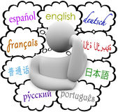 Languages Thought Clouds English Spanish German French Royalty Free Stock Image