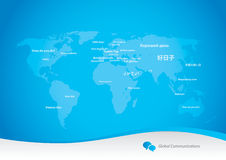 Languages variety. Global communications concept - map with greetings in many languages stock illustration