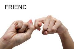 Langue des signes américaine d'ASL d'AMI de signe de main de femme Photographie stock
