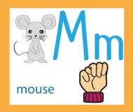 Langue des signes et alphabet lettre m de bande dessinée alphabet anglais créateur Concept d'ABC illustration libre de droits