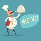 Langue en chef de Serving Dish Symbol de cuisinier de vintage illustration de vecteur