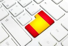 Langue espagnole ou concept de Web de l'Espagne Le drapeau national entrent dans le butto illustration libre de droits