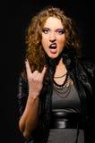 Langue et signe des klaxons Image stock