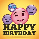 Langue heureuse d'emoji de sourire de joyeux anniversaire  Image stock