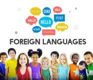Langues étrangères de communication saluant le concept mondial Image libre de droits