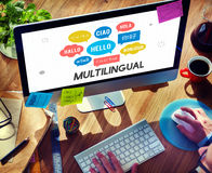 Langues étrangères de communication saluant le concept mondial Image stock