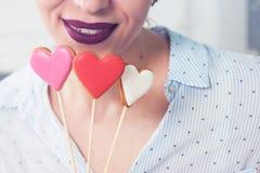 Languettes et coeurs Photo stock