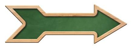 Langwerpig groen bord met heldere houten kader en pijlvorm stock foto's