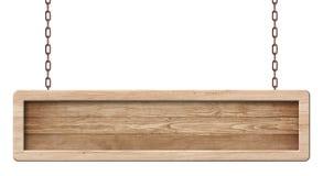 Langwerpige houten die raad van donker hout en met het heldere kader hangen op kettingen wordt gemaakt royalty-vrije stock afbeelding