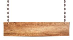 Langwerpige houten die raad van het natuurlijke houten hangen op kettingen wordt gemaakt stock foto's