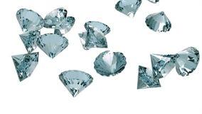 Langzaam dalende die diamanten op witte achtergrond worden geïsoleerd royalty-vrije illustratie