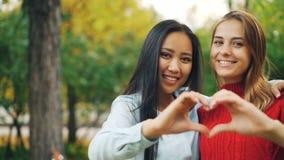 Langzaam motieportret van het vrouwelijke vrienden Aziatische en Kaukasische bekijken camera, het glimlachen van en het maken van stock video