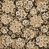 Langzaam verdwenen Sepia Bloemenpatroon Stock Afbeelding