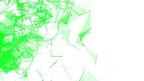 Langzaam vliegende groene verbindende deeltjes op een wit 3d geef terug royalty-vrije illustratie