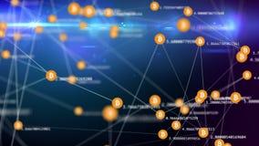 Langzame bewegende verbonden bitcoin symbolen met dynamische knoeiboel stock illustratie