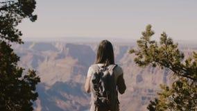 Langzame de toeristenvrouw van de motie achtermening gelukkige wandeling, die zich met wapens wijd open bij episch Grand Canyon - stock video