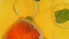 Langzame geanimeerde video die van grapefruitplak in kruik met jus d'orange en munt vallen stock video