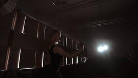 LANGZAME MOTIE: close-up van de benen van de ballerina in pounts en de vlotte beweging van de camera langs de verticale as stock videobeelden