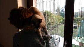 Langzame motie: het binnenlandse kat spelen op de schouder van glimlachende mooie vrouw stock video