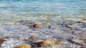 Langzame motie van de kustlijn van het overzees stock footage