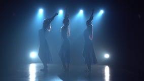 Langzame motie van drie fascinerende ballerina's die een modern ballet dansen stock videobeelden