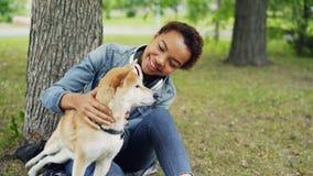 Langzame motie van het houden van het van aantrekkelijke meisje die van de hondeigenaar het aanbiddelijke puppy die van shibainu  stock videobeelden