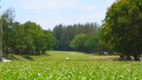 Langzame motiegolfspeler die golfbal op T-stuk weg raken stock video