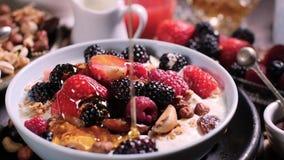 Langzame motiemening: gietende honing over een kom graangewassen met bessen voor ontbijt met droge vruchten stock video