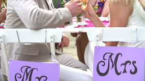 Langzame Motieopeenvolging van Bruid en Bruidegom At Reception stock video