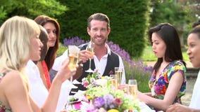 Langzame Motieopeenvolging van Vrienden die Champagne Toast voorstellen stock videobeelden