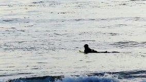 Langzame Motiesurfer die op een Surfplank in de Oceaan paddelen stock videobeelden