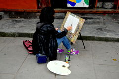 Langzhong, China: Artist Painting on Zhuangyuan Street Stock Photography